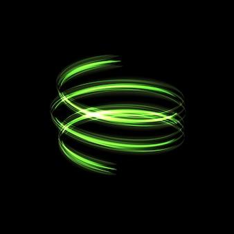 Les étoiles à effet de lumière verte éclatent d'étincelles isolées