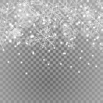 Les étoiles étincelles blanches scintillent effet de lumière spécial et flocons de neige.