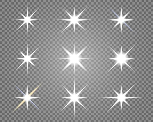 Étoiles explose sur fond transparent.