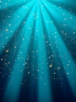 Étoiles sur fond rayé bleu.
