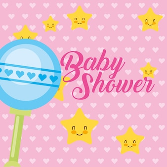 Étoiles de hochet de jouet dessin animé de cartes de douche de bébé