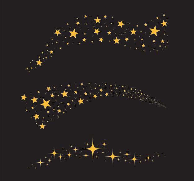 Étoiles isolées sur fond noir. étoiles tombantes.