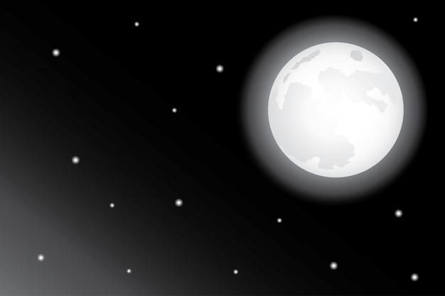 Étoiles et lune dans le ciel nocturne fond