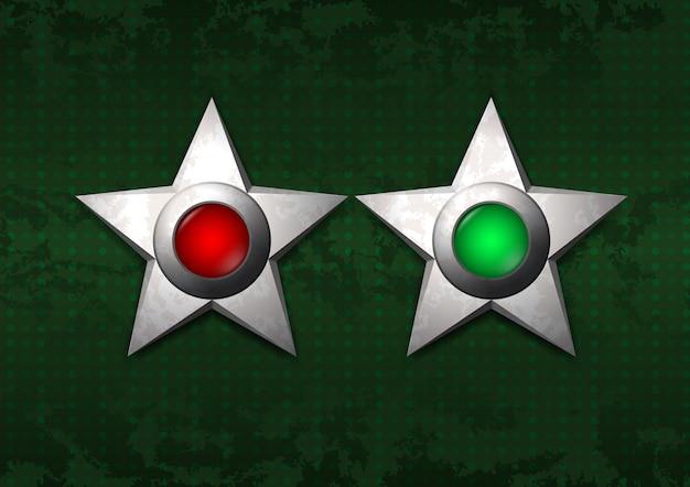Étoiles métalliques sur et en dehors