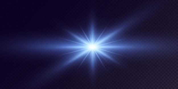 Étoiles de néon brillantes isolées sur fond noir effets lens flare éclater la lumière au néon d'explosion