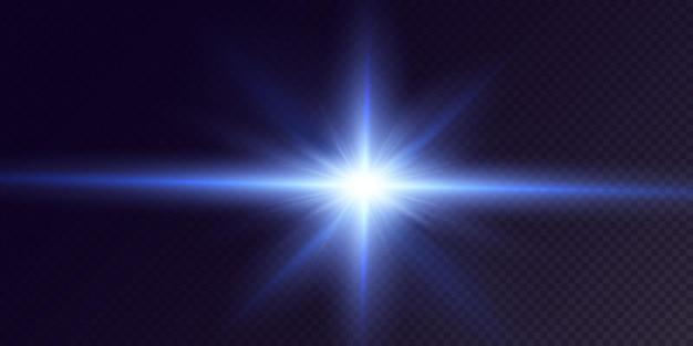 Étoiles de néon brillantes isolées sur fond noir étoiles brillantes beaux rayons bleus vector