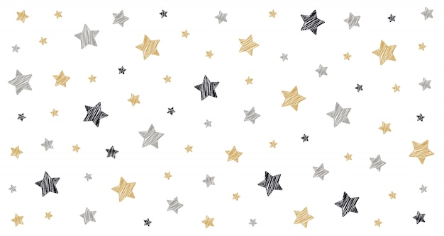 Étoiles de noël griffonner dessin carte isolé fond blanc