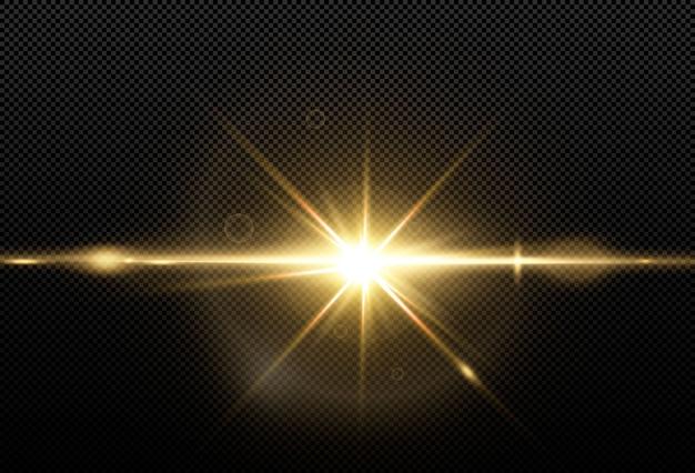 Étoiles d'or brillantes isolés sur fond noir. effets, reflets, éclat, explosion, lumière dorée, ensemble. étoiles brillantes, beaux rayons dorés. .