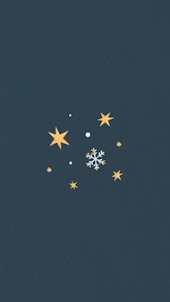 Étoiles d'or avec flocon de neige
