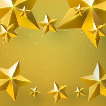 Étoiles d'or sur fond doré avec concept de noël