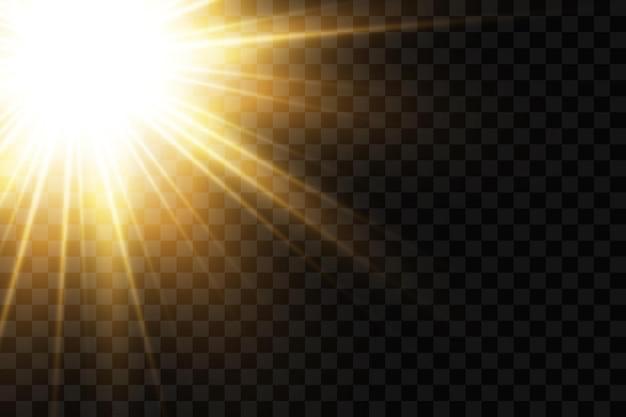 Les étoiles d'or lueur effet lumières rougeoyantes soleil
