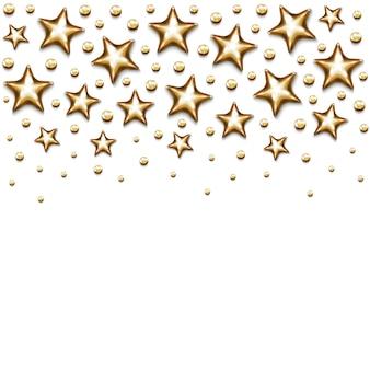 Étoiles d'or de noël et perles sur fond blanc.
