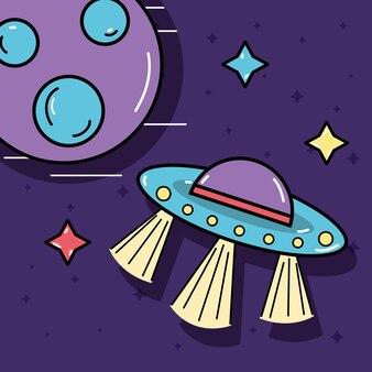 Étoiles, ovnis et planète dans l'espace des galaxies