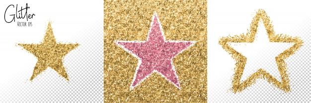 Étoiles à paillettes roses dorées coup de pinceau étincelant. tache de feuille d'or.