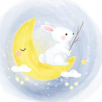 Étoiles de pêche de lapin mignon