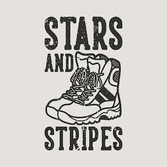 Étoiles et rayures de typographie de slogan vintage pour la conception de t-shirts