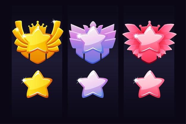Étoiles de réussite pour le jeu, étiquettes de récompense pour le gagnant