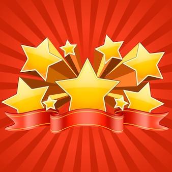 Étoiles rouges avec ruban rouge