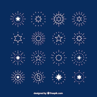 Étoiles et sunbursts bleu clair