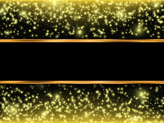 Étoiles tombantes. texture de paillettes d'or sur fond noir