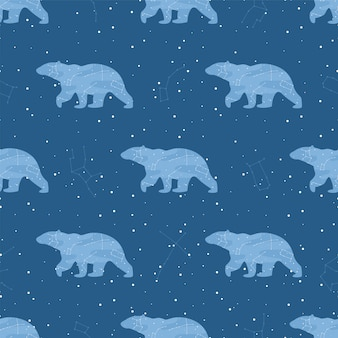 Étoiles de vecteur et ours dans le modèle sans couture de ciel nocturne.