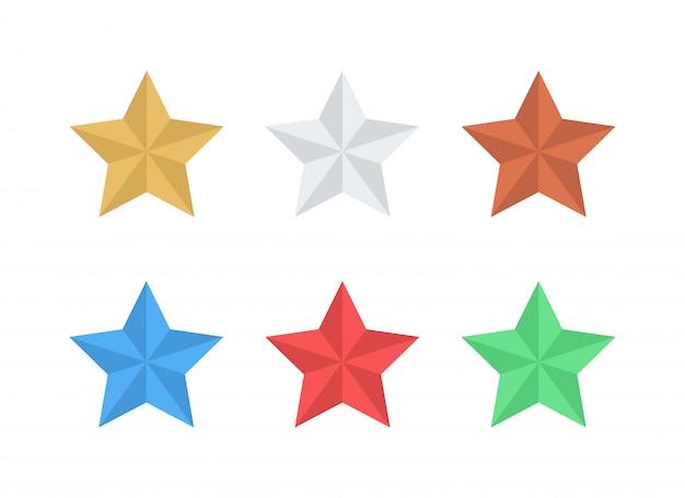 Étoiles vector icons plat deux tons coloré six elements set