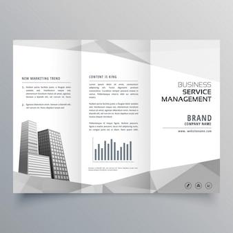 Étonnante conception de la brochure à trois volets avec les entreprises sur des formes géométriques gris