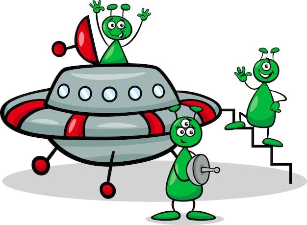 Étrangers avec illustration de dessin animé ufo