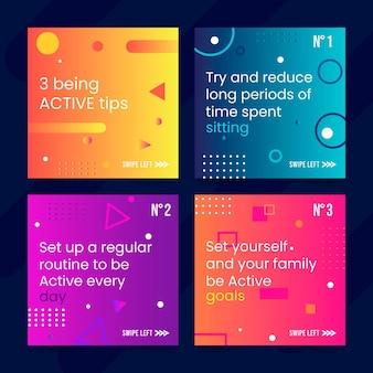 Être actif conseils histoires instagram