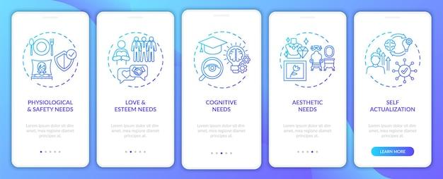 L'être humain a besoin d'un écran de page d'application mobile d'intégration de la marine avec des concepts