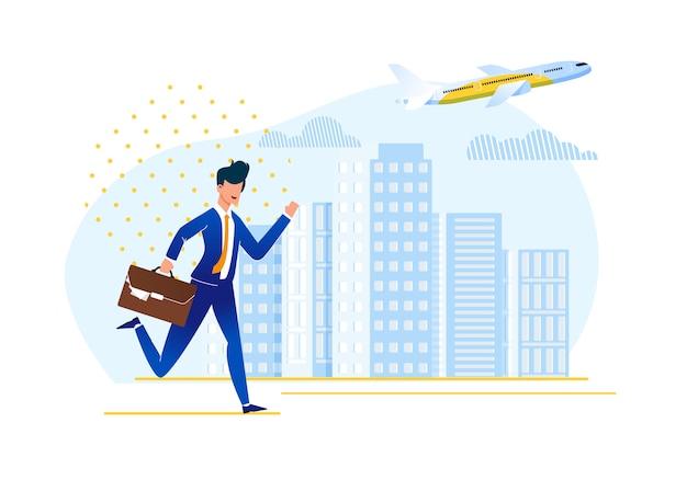 Être en retard à bord de l'illustration d'un avion.