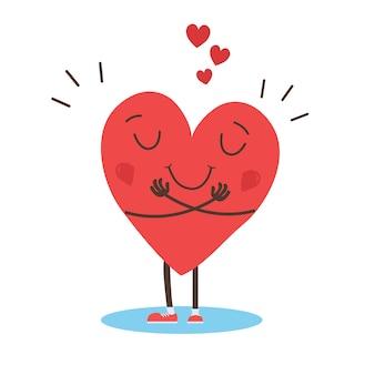 Étreignant vecteur de coeur, étreignez-vous, aimez-vous
