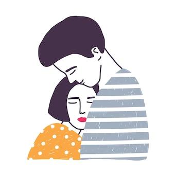 Étreindre petit ami et petite amie isolée