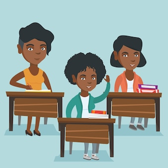 Étudiant africain levant la main pour une réponse.