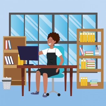 Étudiant assis dans l'illustration du bureau de la bibliothèque