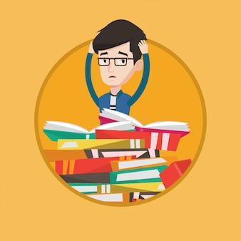 Étudiant assis sur une énorme pile de livres.