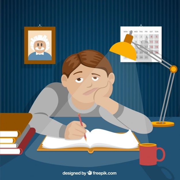 Étudiant bored