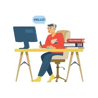Étudiant de cours d'anglais à distance cartoon vector illustration isolé