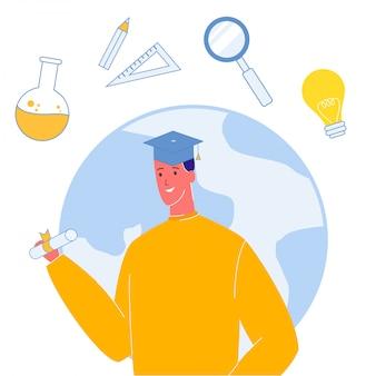 Étudiant, dans, graduation, cap, illustration vectorielle