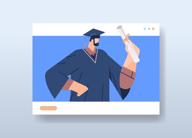 Étudiant diplômé dans la fenêtre du navigateur web diplômé masculin célébrant le diplôme universitaire diplôme éducation certificat universitaire