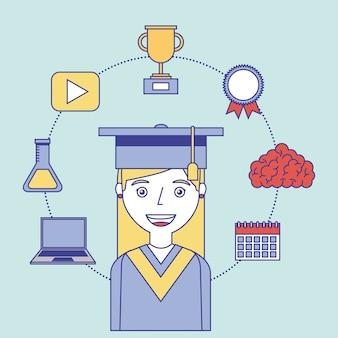 Étudiant diplômé succès étude apprentissage