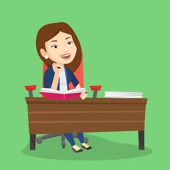 Étudiant écrit au bureau.