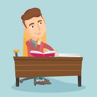 Étudiant écrit à l'illustration vectorielle de bureau.