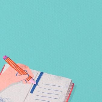 Étudiant écrivant sur un cahier
