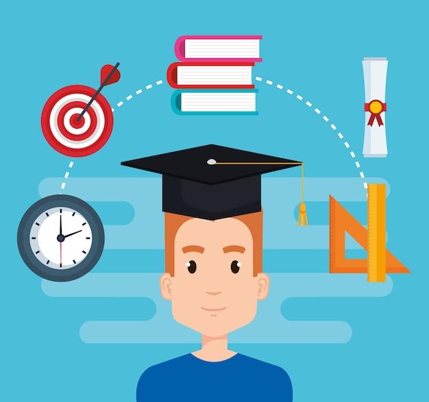 Étudiant avec l'éducation fournitures vector illustration design