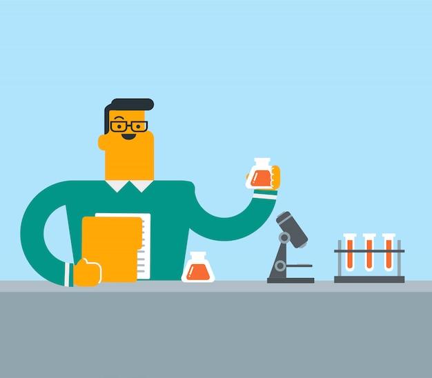 Étudiant effectuant une expérience en laboratoire.