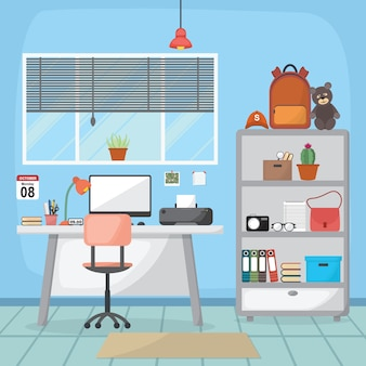 Étudiant enfants étude bureau table meubles de salle intérieure design plat
