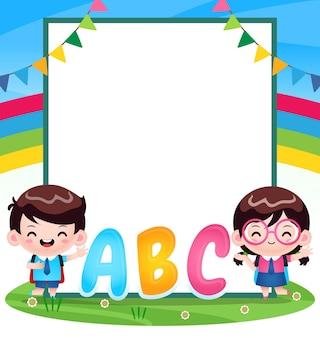 Étudiant enfants avec grande bannière