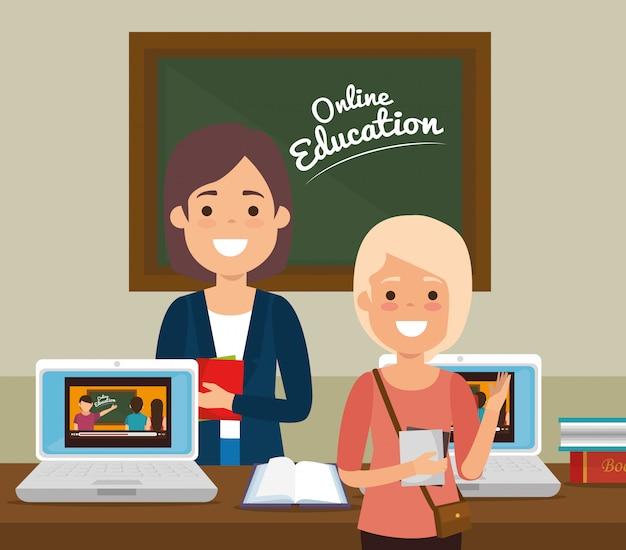 Étudiant et enseignant sur l'éducation en ligne