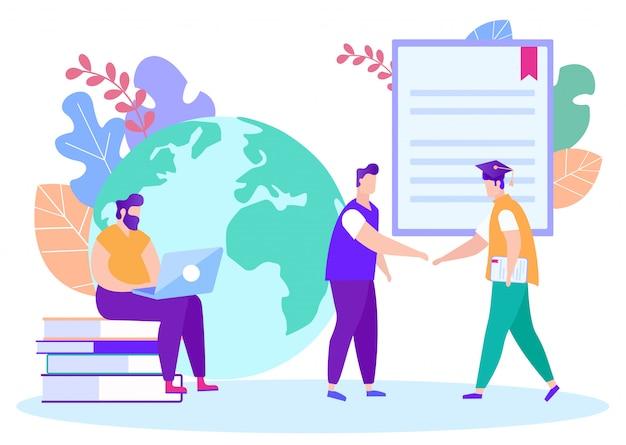 Étudiant et enseignant se serrent la main. apprentissage en ligne. apprentissage à distance. leçon en ligne. e-learning. homme avec ordinateur portable.